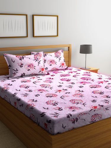 Chic Home 144 TC Cotton Double Bedsheet with 2 Pillow Covers-Pink - SWHF