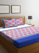 Load image into Gallery viewer, Chic Home 144 TC Cotton Double Bedsheet with 2 Pillow Covers-Blue - SWHF
