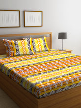 Load image into Gallery viewer, Chic Home 144 TC Cotton Double Bedsheet with 2 Pillow Covers-Yellow - SWHF
