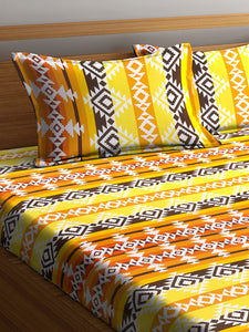 Chic Home 144 TC Cotton Double Bedsheet with 2 Pillow Covers-Yellow - SWHF