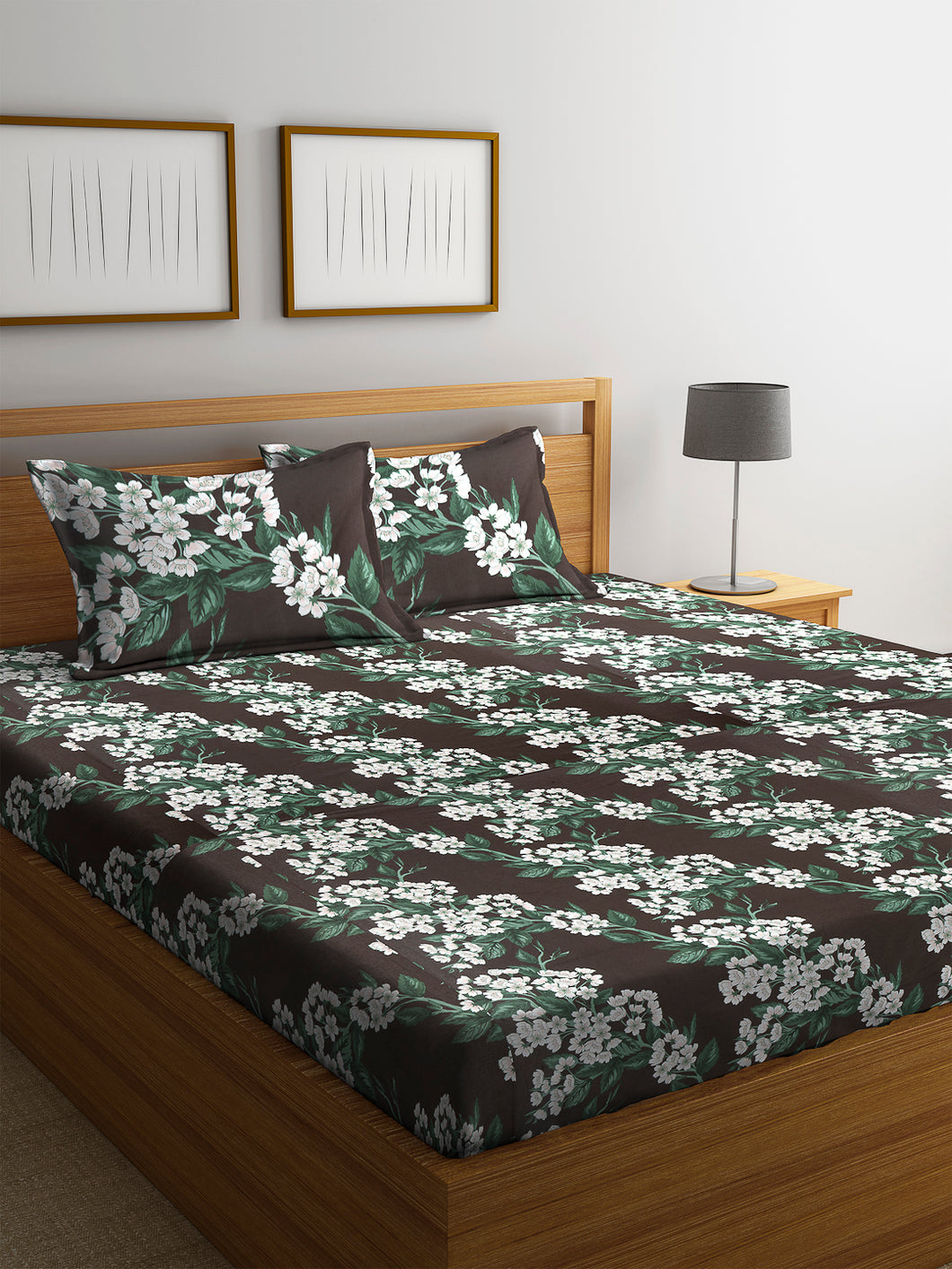 Chic Home 144 TC Cotton Double Bedsheet with 2 Pillow Covers-Green - SWHF