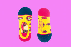 SWHF Organic Cotton No-Show Designer Socks - Lips - SWHF
