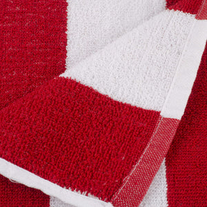Turkish Bath Premium Cotton Stripe Bath and Pool Towel : Red - SWHF