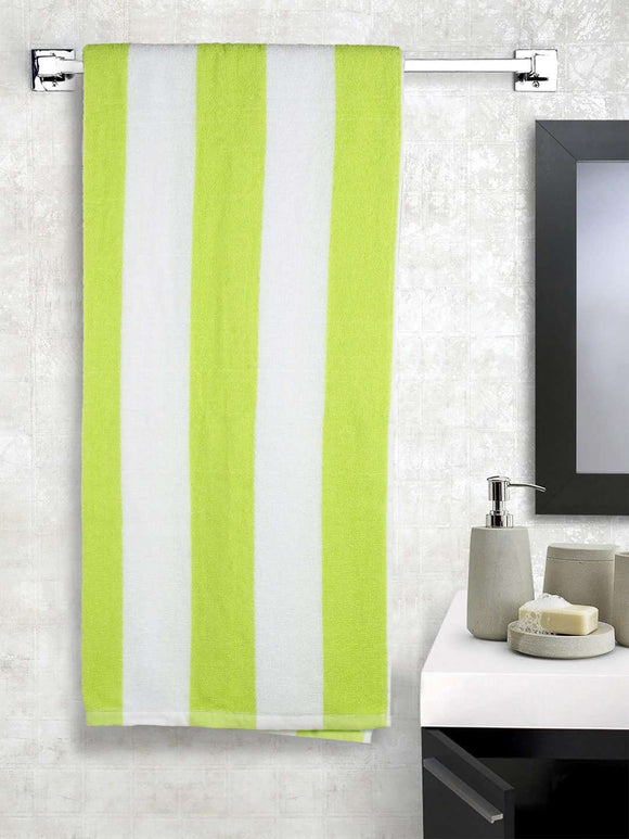 Turkish Bath Premium Cotton Stripe Bath and Pool Towel : Green - SWHF