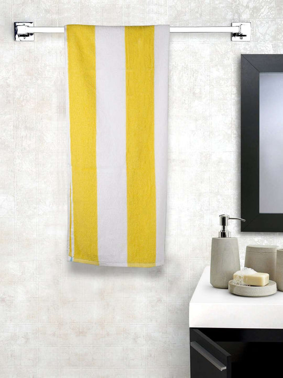 Turkish Bath Premium Cotton Stripe Bath and Pool Towel : Yellow - SWHF