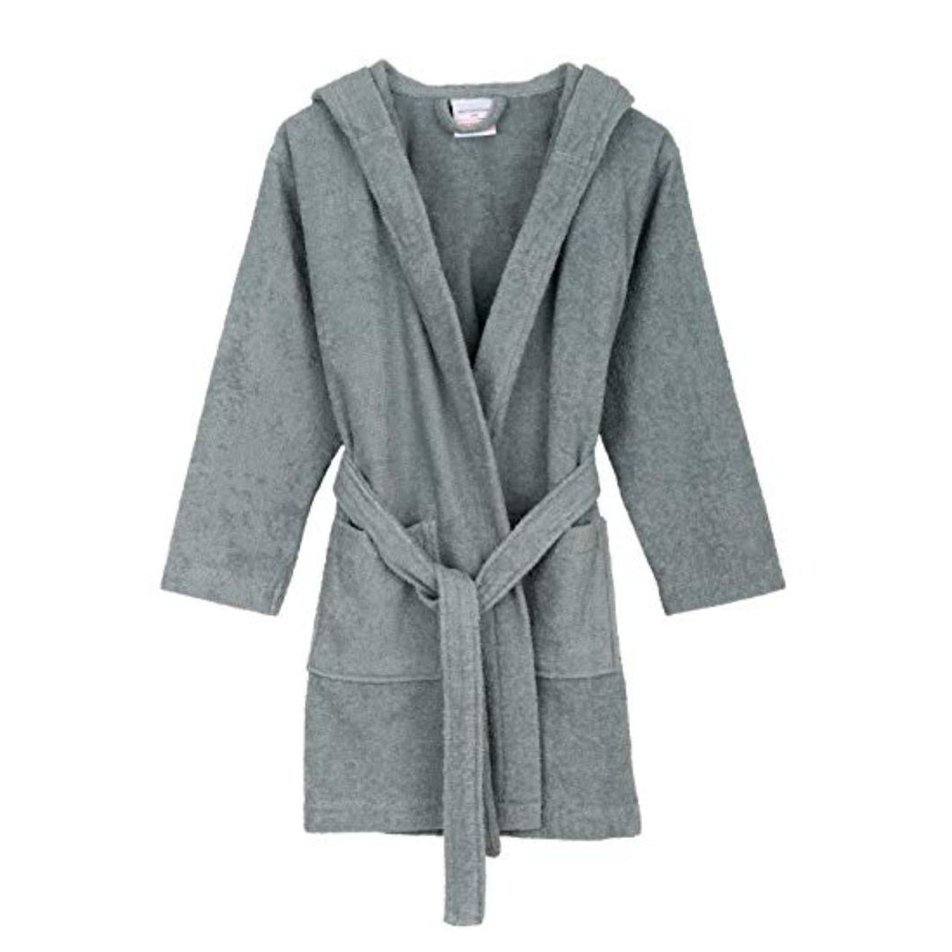 Turkish Bath Premium Cotton Unisex Kids Bathrobe -  Grey - SWHF
