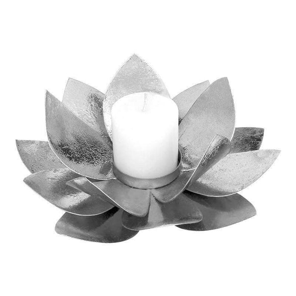 SWHF Lotus Candle Holder: Silver - SWHF
