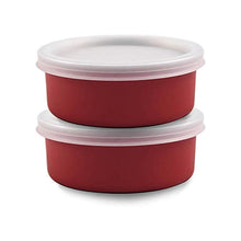 Load image into Gallery viewer, SWHF Microwave Safe Stainless Steel Tiffin/Lunch Box Set,Red (Pack of 2)