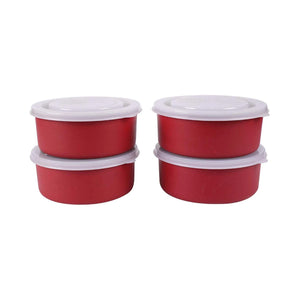 SWHF Microwave Safe Stainless Steel Tiffin/Lunch Box Set,Red (Pack of 4)