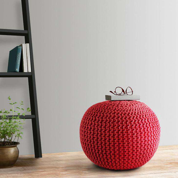 SWHF Knitted Pouf Red - SWHF
