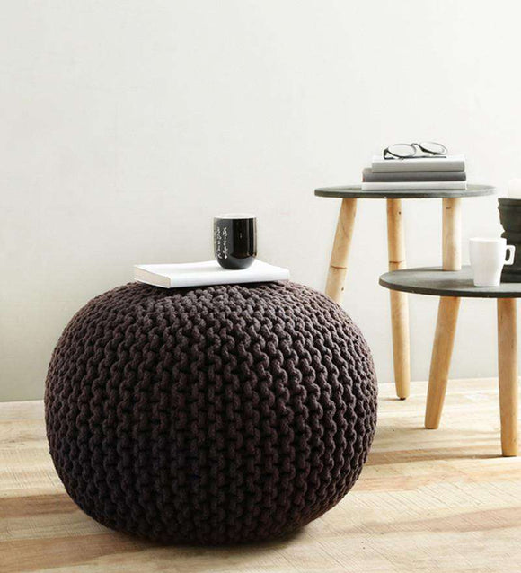 SWHF Knitted Pouf Brown - SWHF