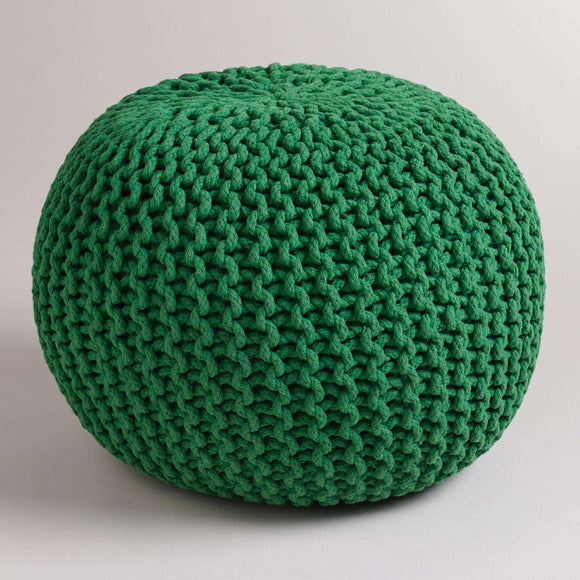 SWHF Knotted Pouf: Bottle Green