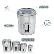 Load image into Gallery viewer, SWHF Stainless Steel Transparent See Through Kitchen Storage Container Set of 4