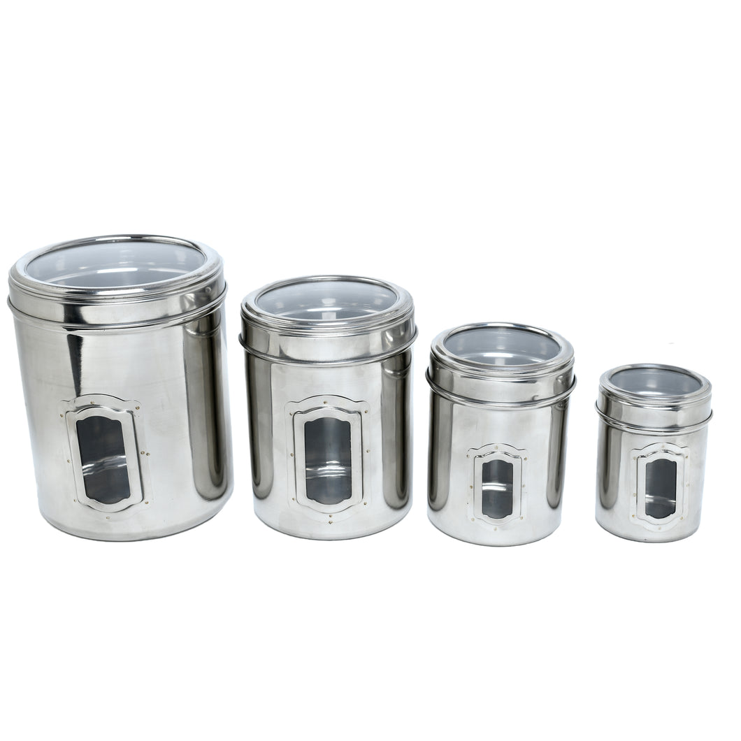 SWHF Stainless Steel Transparent See Through Kitchen Storage Container Set of 4