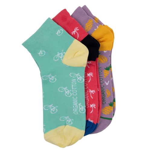 SWHF Organic Cotton Ankle Designer Socks ( Pack of 3, Multi ) - SWHF