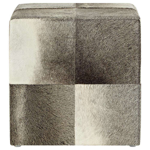 SWHF Square Leather Pouf: Grey - SWHF