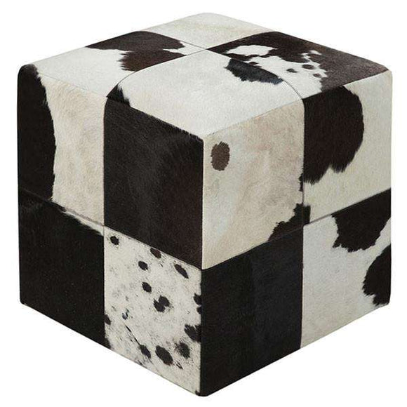 SWHF Square Leather Pouf: Black and White - SWHF