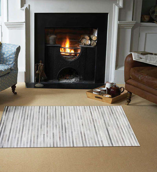SWHF Large Leather Rug Stripes: Grey - SWHF