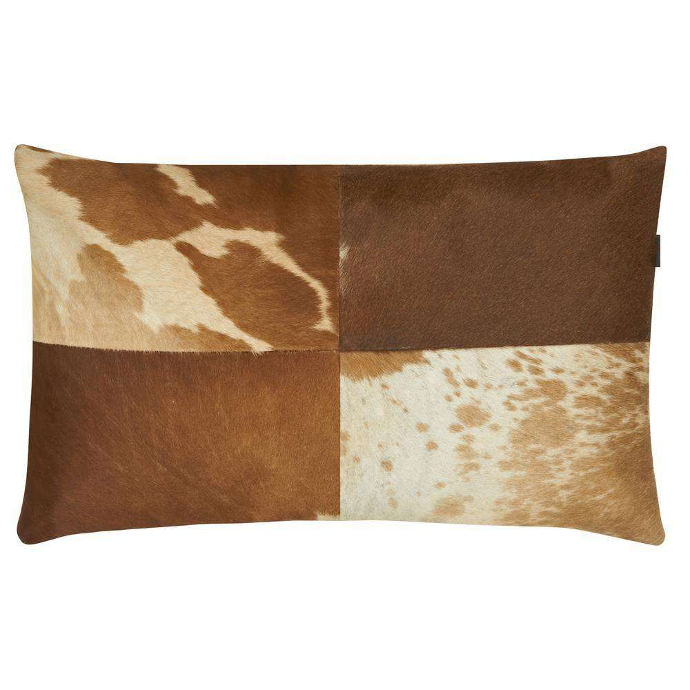 SWHF Leather Cushion Cover: Tan and White - SWHF