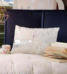 SWHF Leather Cushion Cover: White with Silver Foil - SWHF