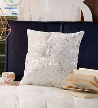 Load image into Gallery viewer, SWHF Leather Cushion Cover: White with Silver Foil - SWHF