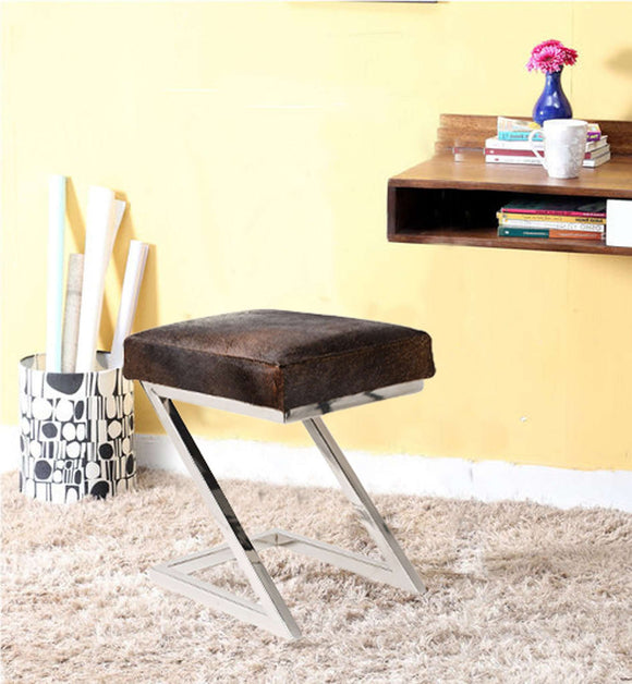 SWHF Hair on Leather Stool with Stainless Steel Legs - SWHF