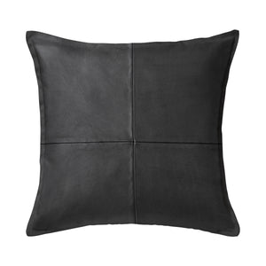"SWHF Solid Leather Cushion Cover 18"" x 18"" (Black)"