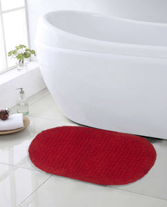 SWHF Premium Cotton Oval Anti Skid Bath Mat: Red - SWHF