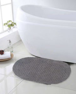 SWHF Premium Cotton Oval Anti Skid Bath Mat: Grey - SWHF