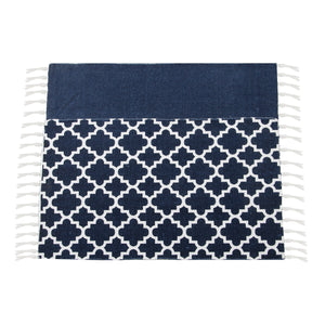 SWHF Double Twisted Cotton Printed & Solid Rug, Set of 2 : 18 X 30 In (Navy Blue) - SWHF