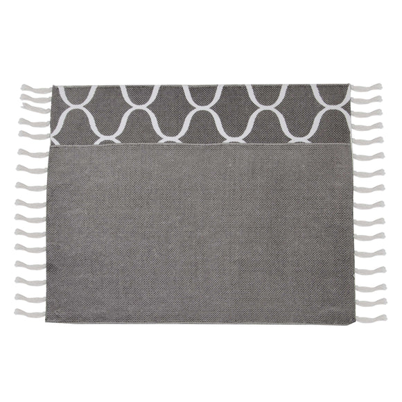 SWHF Double Twisted Cotton Printed & Solid Rug, Set of 2 : 18 X 30 In (Grey) - SWHF