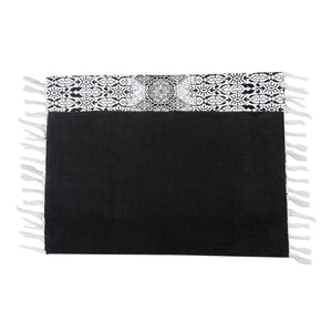 SWHF Double Twisted Cotton Printed & Solid Rug, Set of 2 : 18 X 30 In (Black)