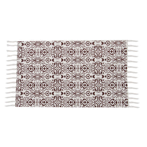 SWHF Double Twisted Cotton Printed & Solid Rug, Set of 2 : 18 X 30 in (Maroon) - SWHF
