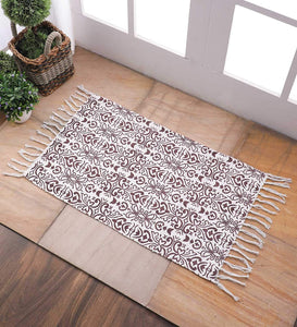 SWHF Cotton Solid Rug: 18 X 30 Inch (Brown::White)