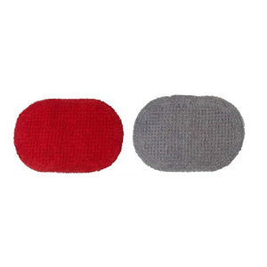 SWHF Anti-Skid Oval Waffle Bath Mat: Pack of 2 (Red::Grey)
