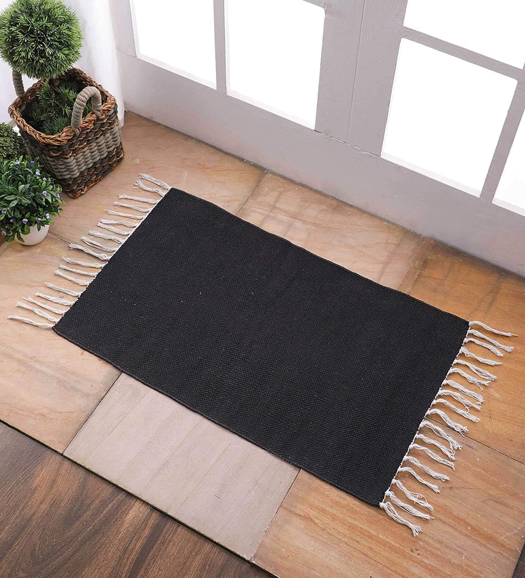 SWHF Cotton Solid Rug: 18 X 30 Inch (Black)