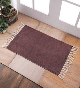 SWHF Cotton Solid Rug: 18 X 30 Inch (Brown)