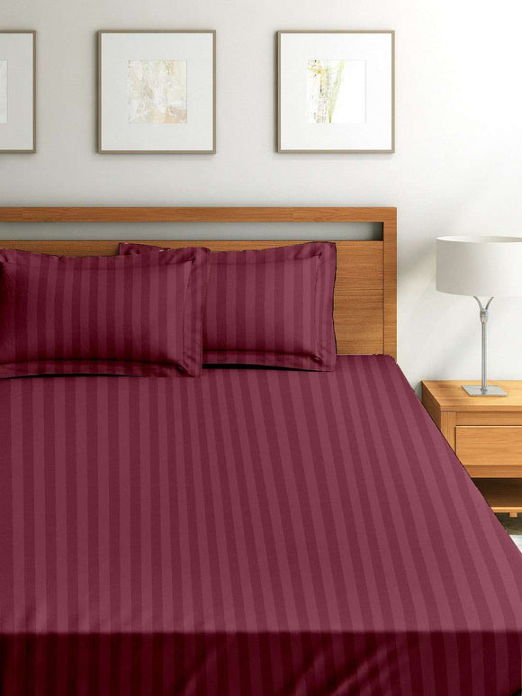 SWHF Chic Home Premium Collection 300 Thread Count 100% Cotton King Size Bed Sheet: Maroon - SWHF