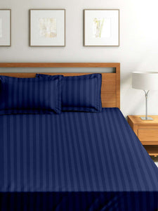 SWHF Chic Home Premium Collection 300 Thread Count 100% Cotton King Size Bed Sheet: Navy Blue - SWHF
