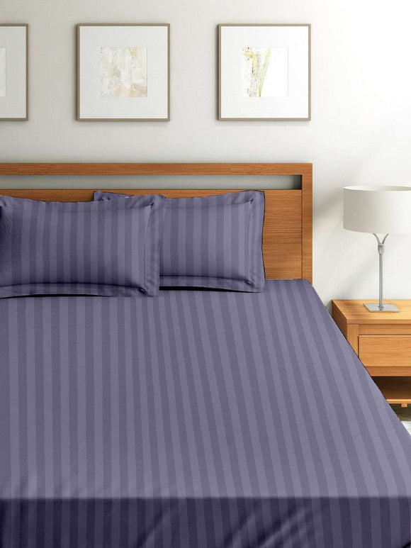 SWHF Chic Home Premium Collection 300 Thread Count 100% Cotton King Size Bed Sheet: Grey - SWHF