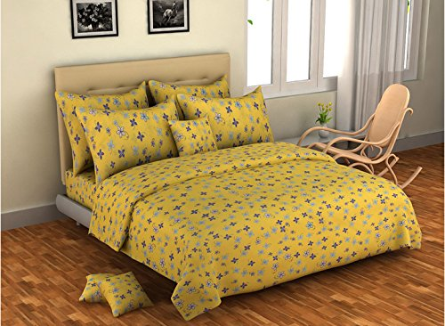 Bombay Dyeing Elements Poly Cotton Double Bed Sheet with 2 Pillow Covers : Yellow - SWHF