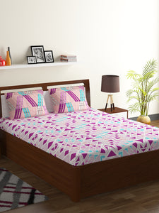 Bombay Dyeing Axia 104 TC Cotton Double Bedsheet with 2 Pillow Covers-Magenta - SWHF