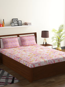 Bombay Dyeing Axia 104 TC Cotton Double Bedsheet with 2 Pillow Covers-Pink - SWHF