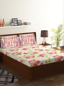 Bombay Dyeing Axia 104 TC Cotton Double Bedsheet with 2 Pillow Covers-Orange - SWHF