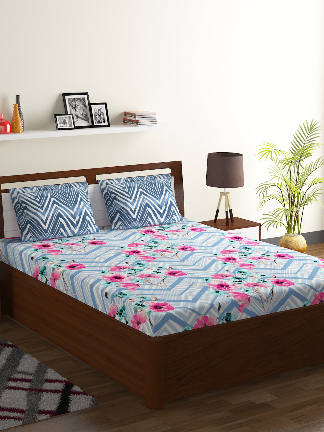 Bombay Dyeing Axia 104 TC Cotton Double Bedsheet with 2 Pillow Covers-Blue - SWHF