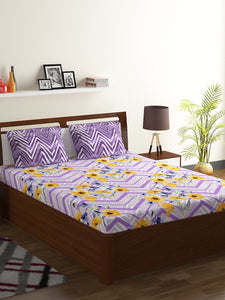 Bombay Dyeing Axia 104 TC Cotton Double Bedsheet with 2 Pillow Covers-Levender - SWHF