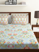 Load image into Gallery viewer, Bombay Dyeing Axia 104 TC Cotton Double Bedsheet with 2 Pillow Covers-Blue - SWHF