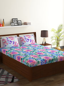 Bombay Dyeing Breeze 120 TC Cotton Double Bedsheet with 2 Pillow Covers-Blue - SWHF