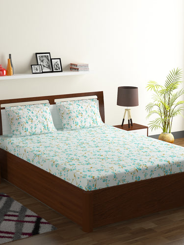 Bombay Dyeing Breeze 120 TC Cotton Double Bedsheet with 2 Pillow Covers-Aqua - SWHF