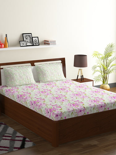 Bombay Dyeing Breeze 120 TC Cotton Double Bedsheet with 2 Pillow Covers-Pink - SWHF